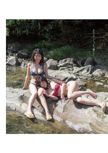 Takasaki Shoko 高崎聖子 x Hoshina Mizuki 星名美津紀 Weekly Playboy No 41 2015 Pics 05