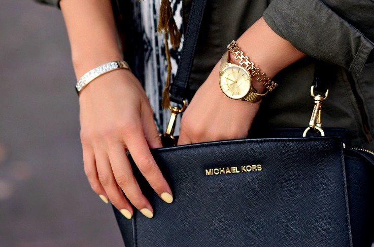 Michael Kors black selma bag medium, Prisma watch, Myca Couture bracelet