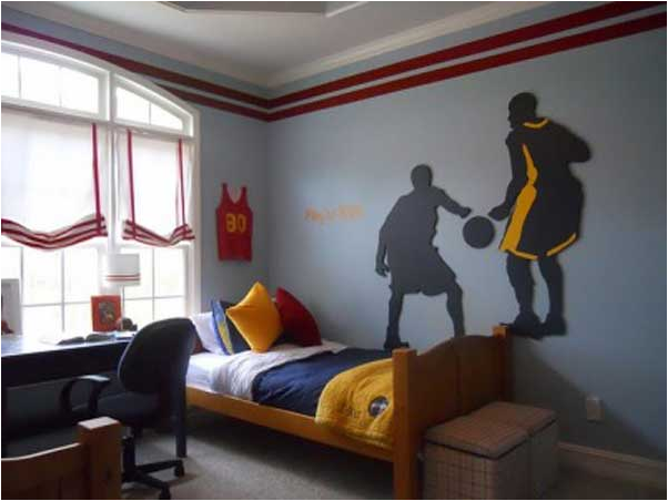 Teen boys sports theme bedrooms room design ideas for Boys room mural