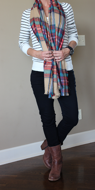 Fall 2015, casual outfit, stripes, black and white, Target scarf, Brown boots