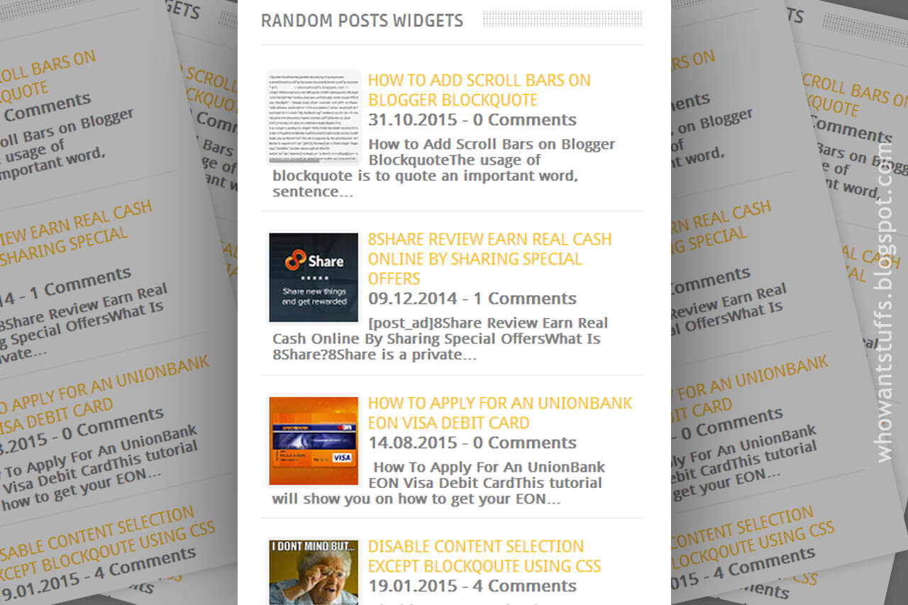 Advanced Random Posts Widget For Blogger with Thumbnails and Snippets