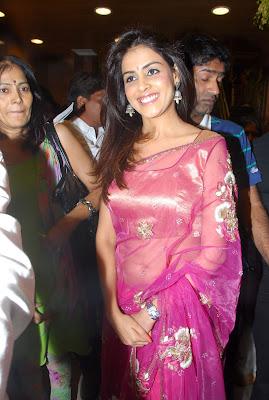 Genelia in pink saree