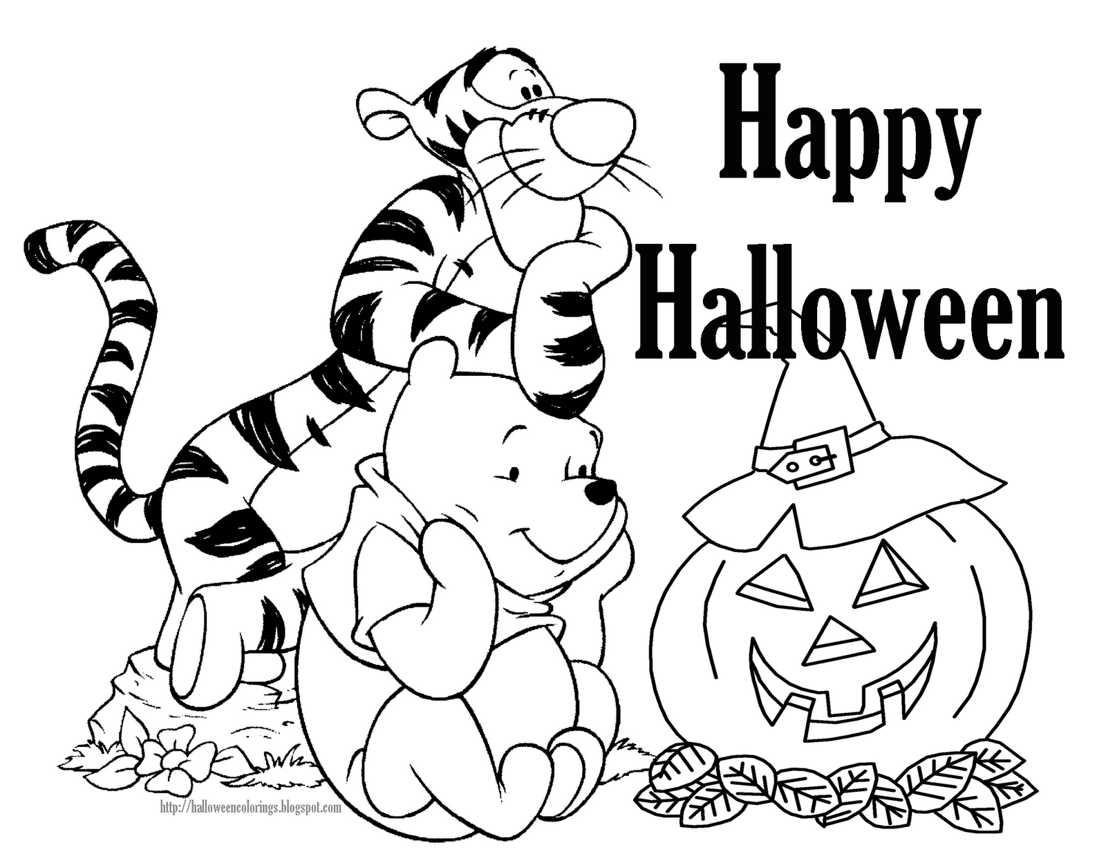 the pooh halloween coloring pages - photo#5