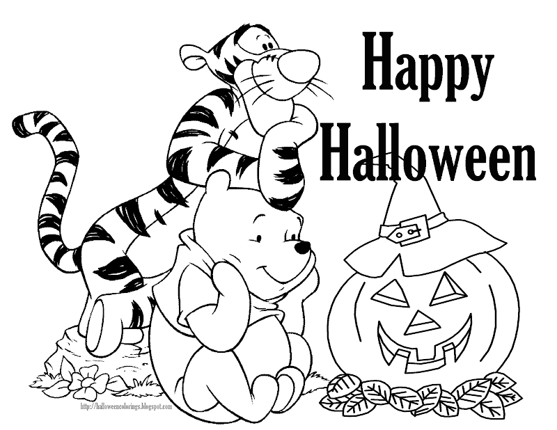 Pooh in a great Halloween coloring page for you to print and color title=