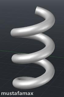 بعد تطبيق الأمر sweep عبى العنصر العنصر helix