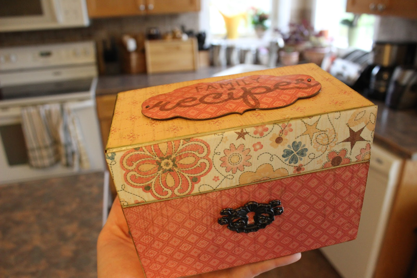 Mod podge recipe box love create celebrate for Mod podge recipe