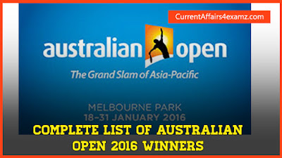 Australian Open 2016 Winners List