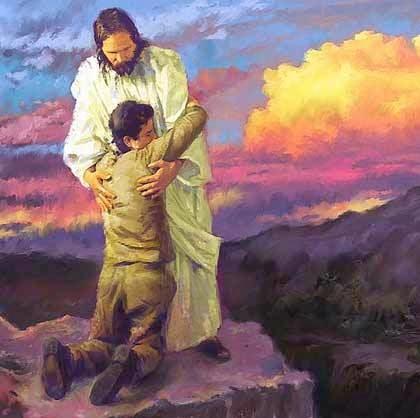 Cristo misionero arrodillado