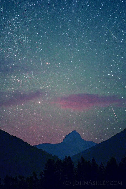 Perseid meteors over Mt. Saint Nicholas in Glacier National Park (c) John Ashley