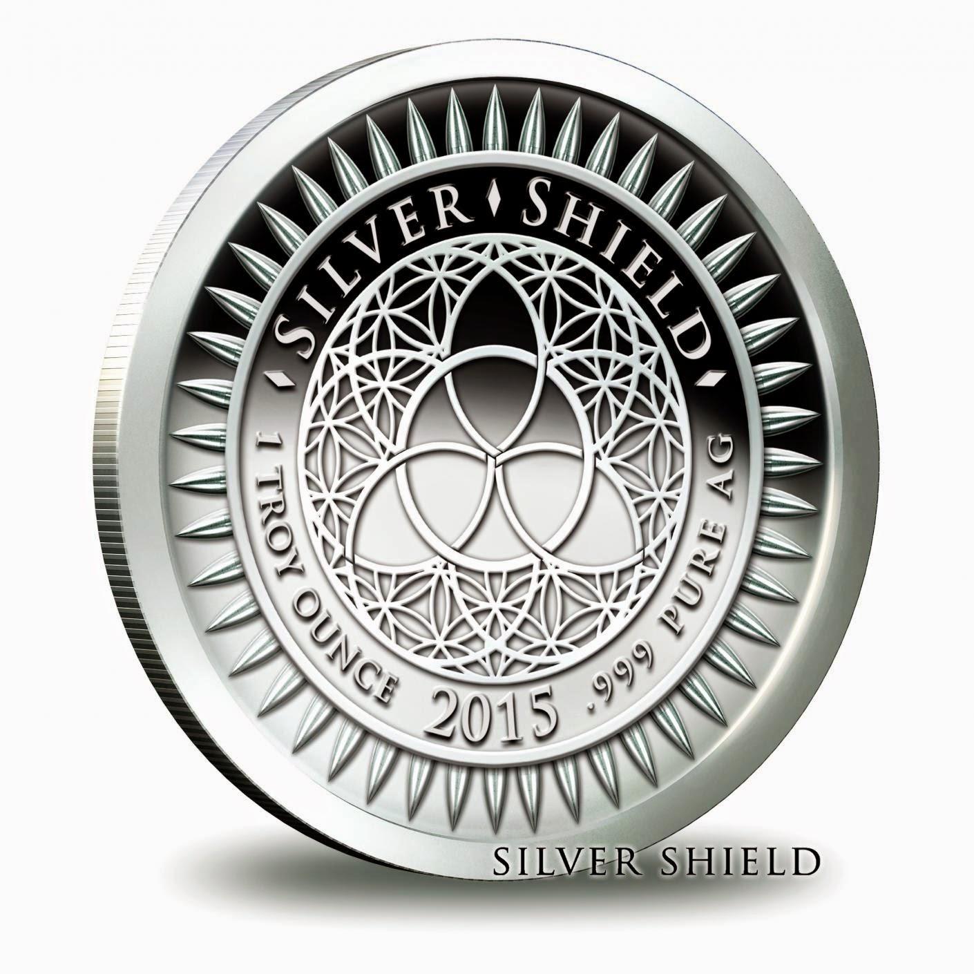 2014 Silver Shield Ag Bull 1 oz Silver Round//Coin in airtite