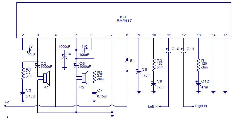 Rangkaian power amplifier stereo mini dengan IC BA5417