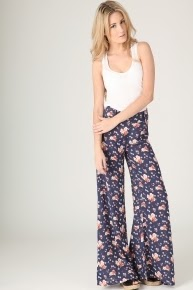 navy floral print palazzo trousers