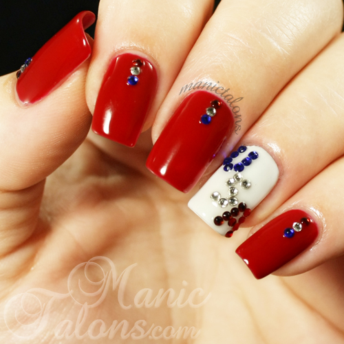 Red White and Blue Crystal Manicure, Couture Gel Polish