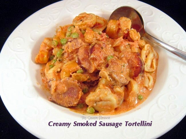 a serving of Creamy Smoked Sausage Tortellini