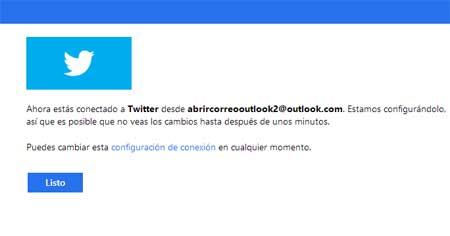 vincular Twitter y Outlook