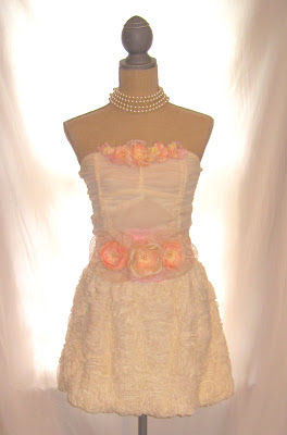 Short Strapless Wedding Prom Dress, Cream Color Chiffon Sheer Fully Lined