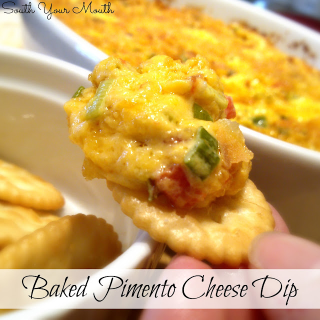 Baked Pimento Cheese Dip {with bacon and cracker crumb topping}