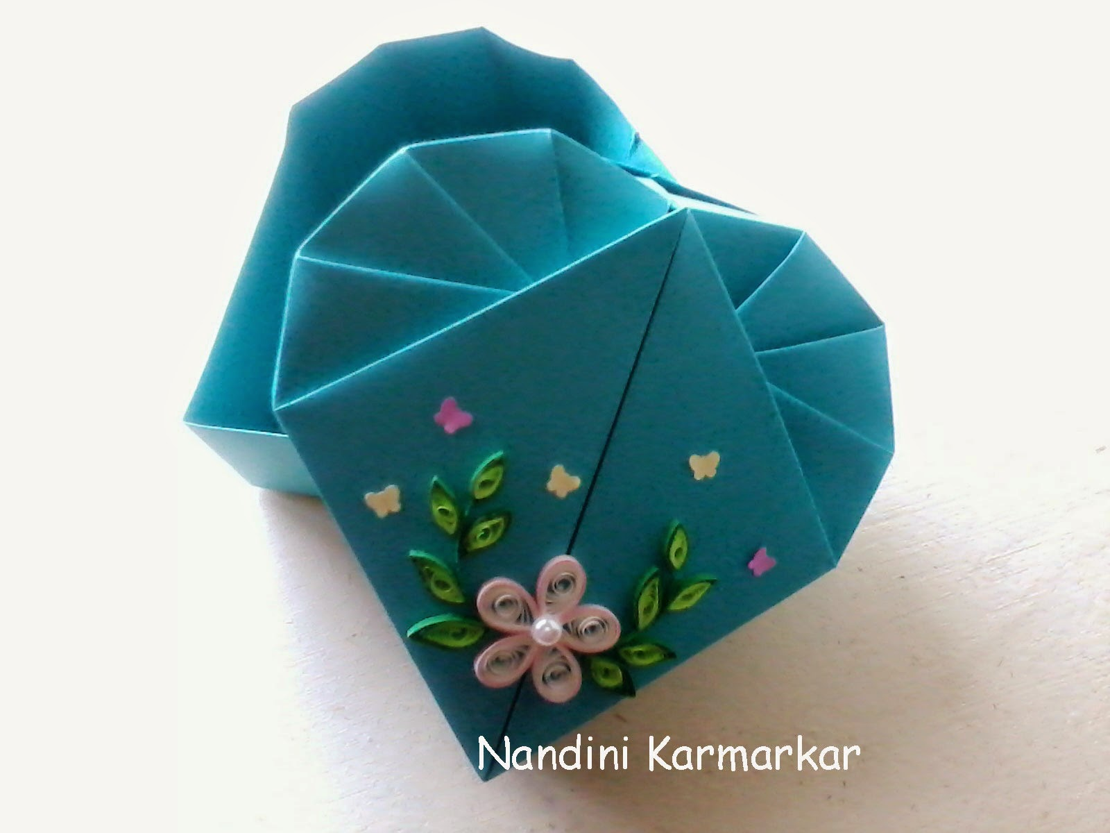 Paint paper scissors origami heart box snehals creations this a heart box made with origami i have used simple chart paper in a pretty shade of turquoise there is nothing except paper folding used jeuxipadfo Choice Image