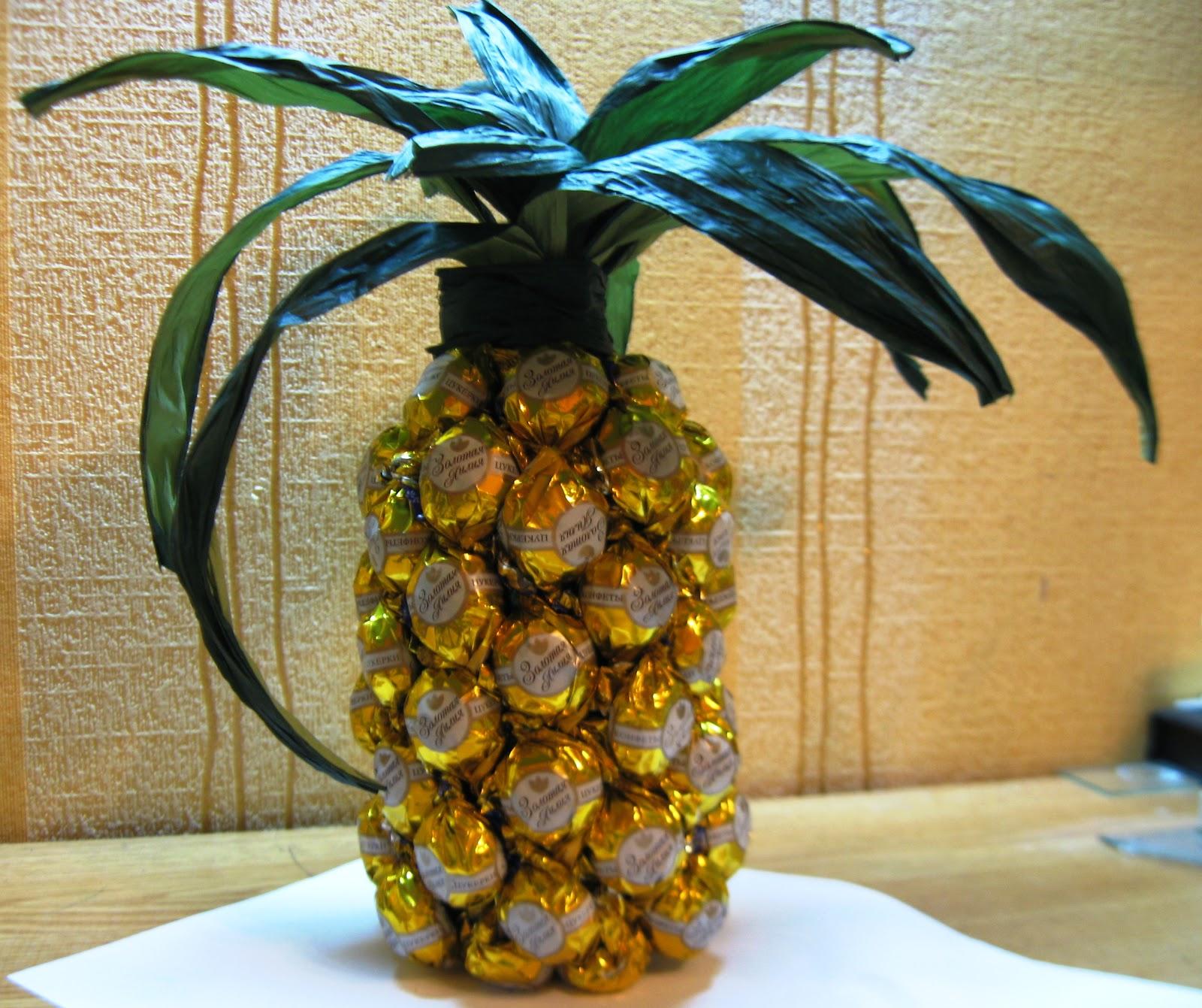Поделка ананас из пластиковых бутылок