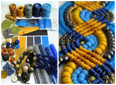 Blue and gold color palette and beaded micro macrame.