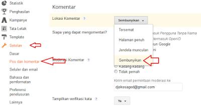 Cara mematikan form komentar otomatis di blogspot