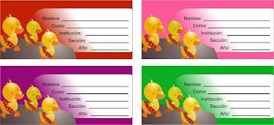 etiquetas para cuaderno con motivos de patitos amarillos