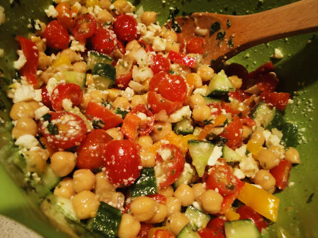 Food, Love, & Life: {recipe} chickpea salad with feta and herbs