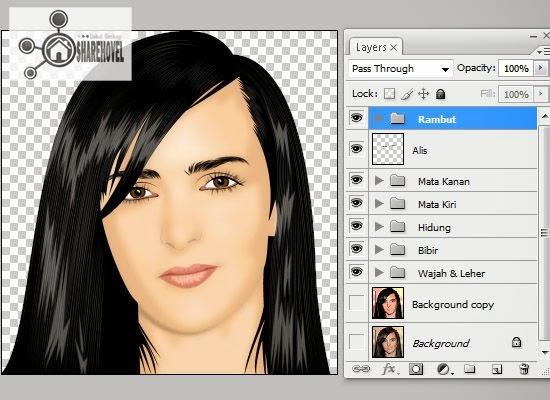 hasil vector dan tracing rambut di photoshop - tutorial membuat vector di photoshop - membuat foto menjadi kartun dengan photoshop