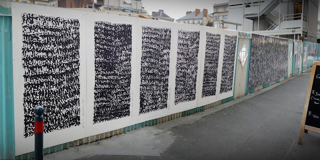 """Peintures murales sur le palissade ouest - En face des """"Petits papiers"""" - 29 Mai 2015 - Pierre Bessous « Prières » - 2015 - 03"""