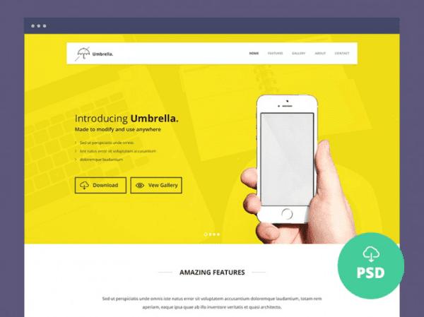 App Landing Page PSD Template