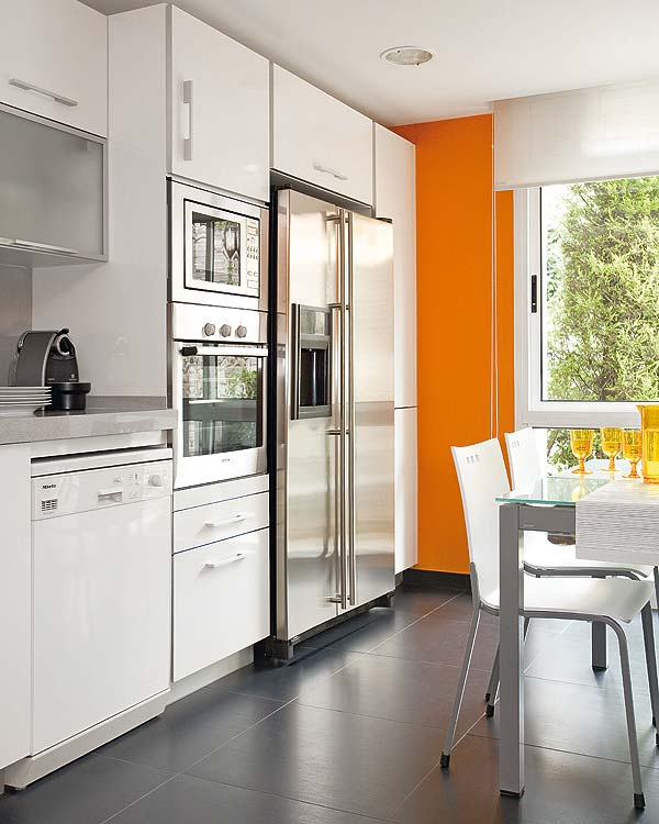 White Kitchen Orange Accents mix and chic: creating interest using accents in all white modern