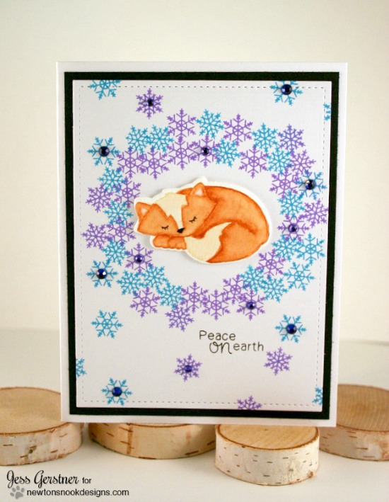 Fox winter wreath Card by Jess Gerstner | Fox Hollow stamp set & die set by Newton's Nook Designs #newtonsnook #fox