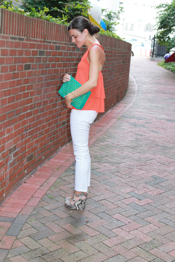 coral top, t-strap top, white jeans, gap white jeans, snakeskin wedges