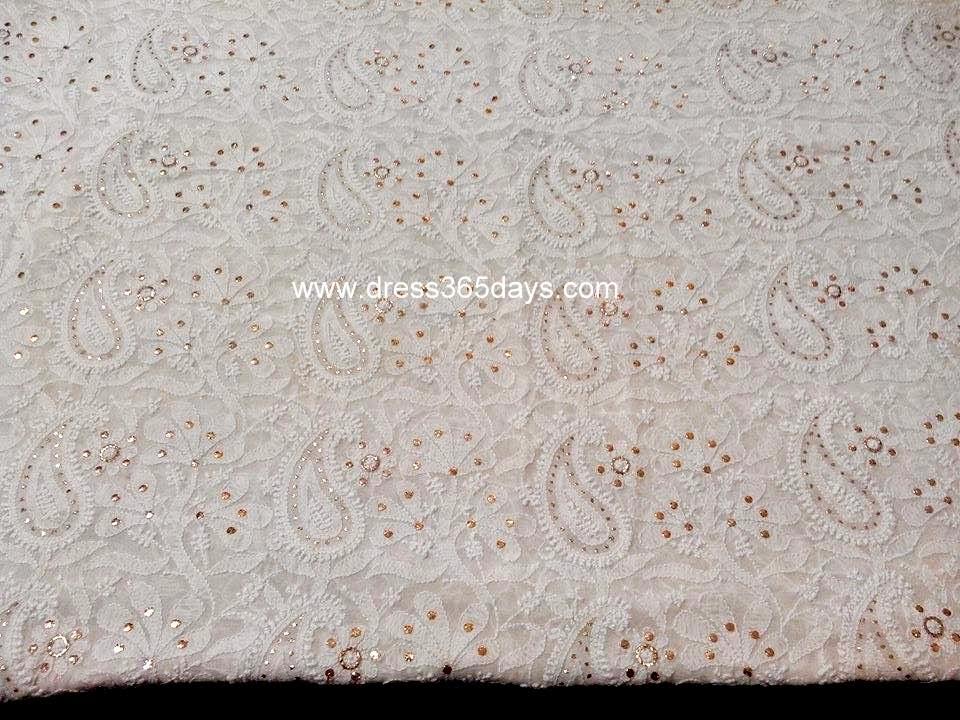 Running Fabric in Pure Georgette Chikankari work