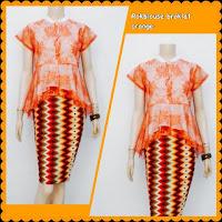 Baju Kebaya Broklat Motif Rang Rang Batik Orange