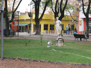 grass irrigation at the square. Uruguay Pictures