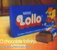 Propaganda do Chocolate Lollo da Nestlé em 1983 - sucesso de vendas nos anos 80 e retomado ao mercado em 2012.