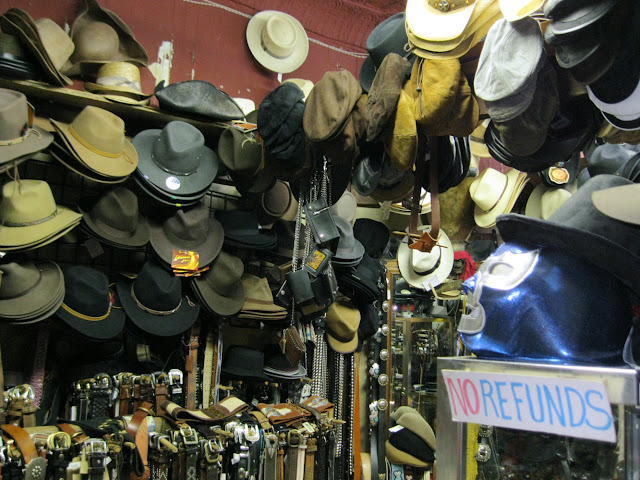 An assortment of hats at Native Leather in New York City