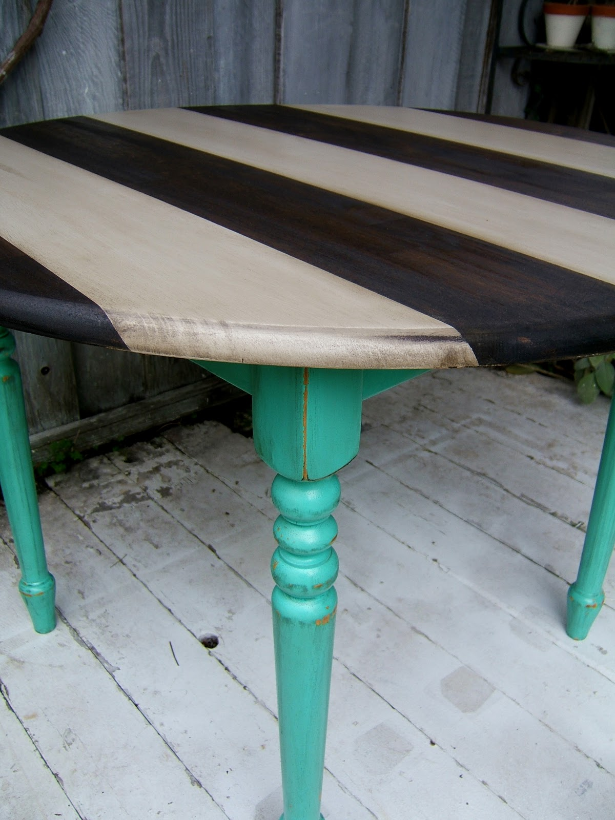 This turquoise is actually the same color as the top half for Teal kitchen table
