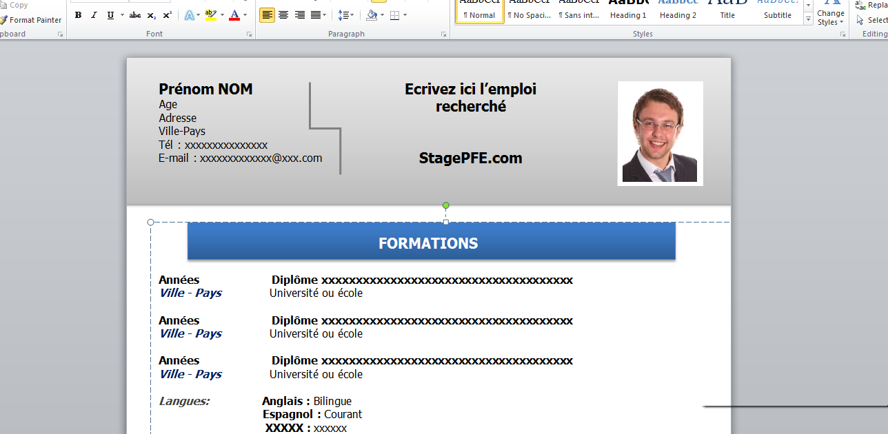 docx  exemple de cv word 2015 pour stage pfe