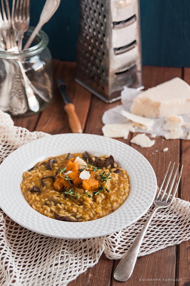 Risotto z dynią, risotto z grzybami, risotto, przepisy, dynia, ryż,