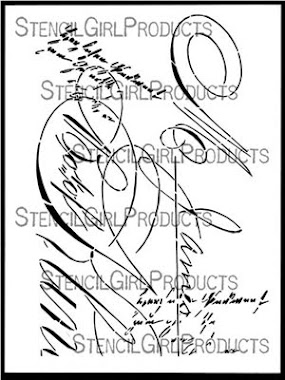 "9"" x 12"" stencil VINTAGE SCRIPT"