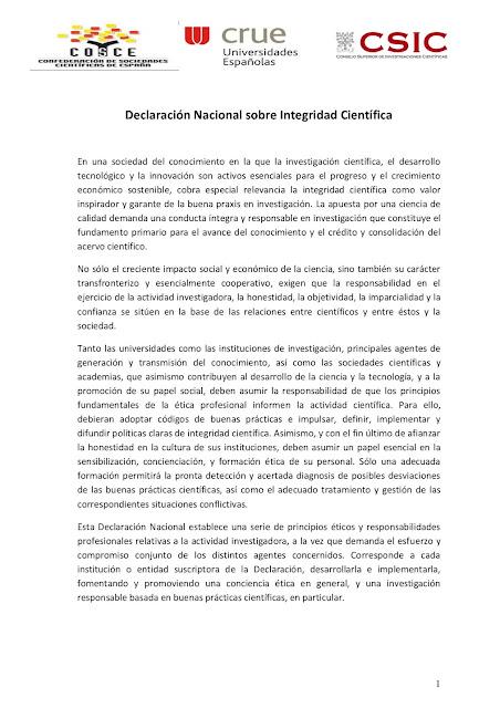 Declaración Nacional sobre Integridad Científica: