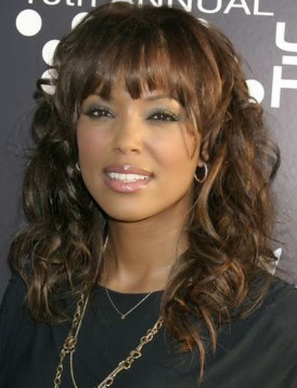 black girl hairstyles with bangs Medium Length