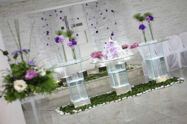 Decoração de Casamento nas cores roxo, branco e lilás
