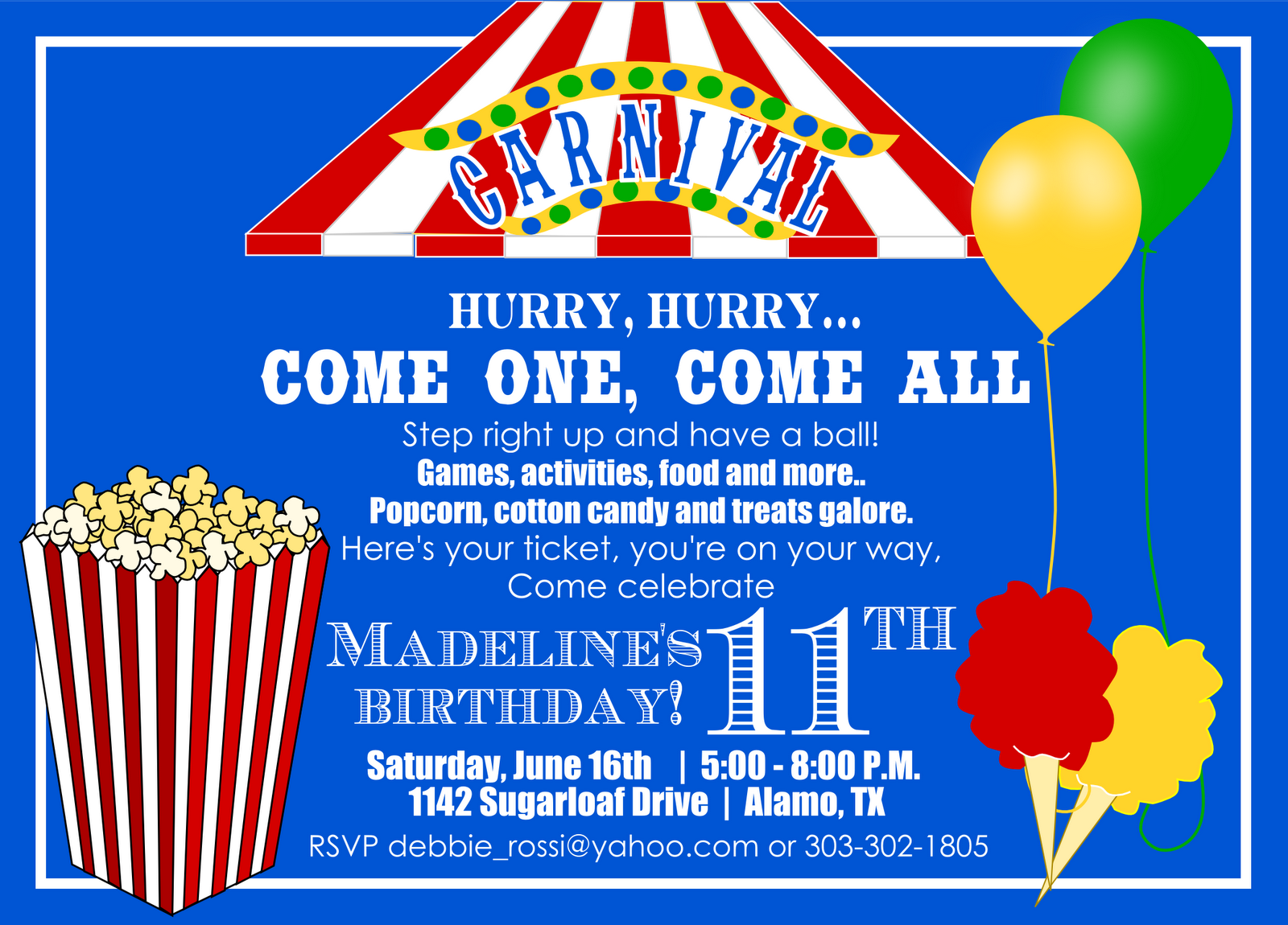 Carnival birthday invitation and ticket for Debbie