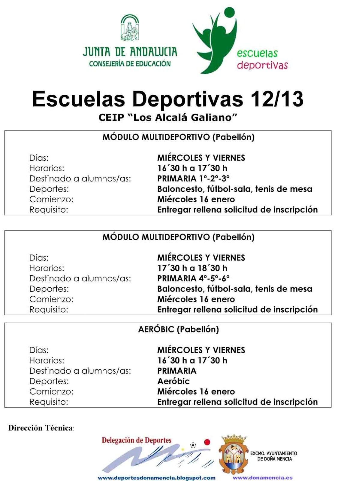 Escuelas Deportivas Municipales - Delegación de Deportes de Doña Mencía