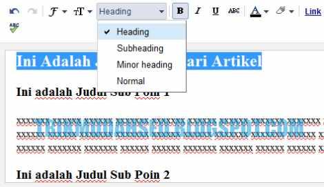 cara mengubah heading di dalam artikel pada post editor blogspot