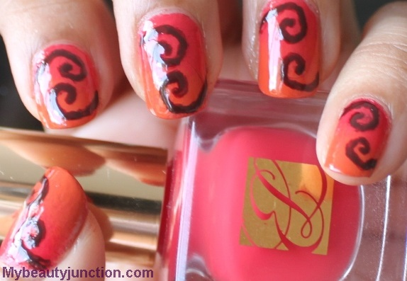 Ombre nail art with Estee Lauder Hot Coral and OPI Chopsticking To My Story
