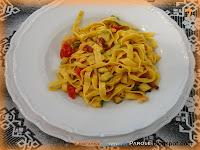 Tagliatelle gamberetti speck e zucchine